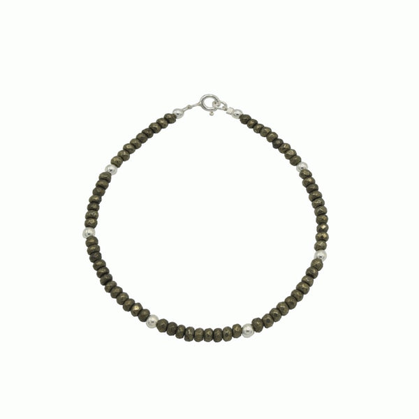 Silver and Pyrite bracelet