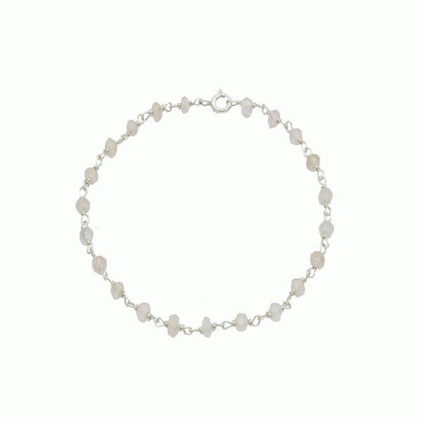 Silver and rose quartz bracelet