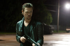 Brad Pitt rockin a black deep v-neck shirt just like this one in his new movie Killing Them Softly