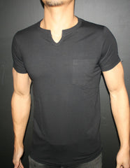 Men's Plain Black Cut-away T-Shirt