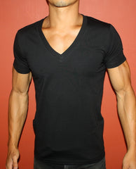 Plain Black Fitted Deep Men's V-Neck T-Shirt
