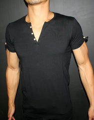 Plain Black Men's Button-down V-Neck T-Shirt