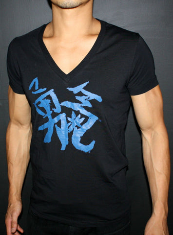 Courage Black Deep Mens' V-Neck T-shirt w/ Blue Chinese Writing
