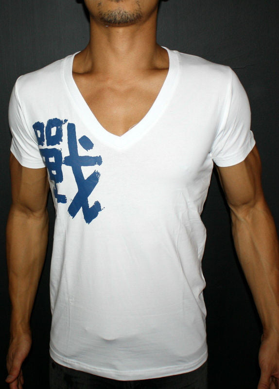 Battle Mens Deep V Neck T Shirt White Blue W Chinese Character