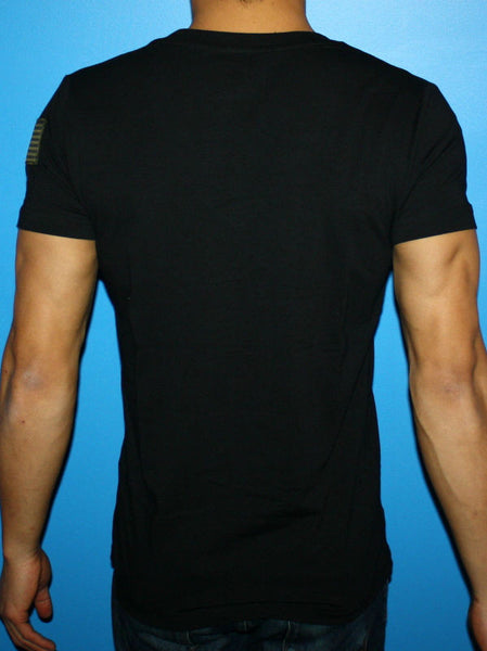 Black Fitted Deep Men's V-Neck With USA Flag