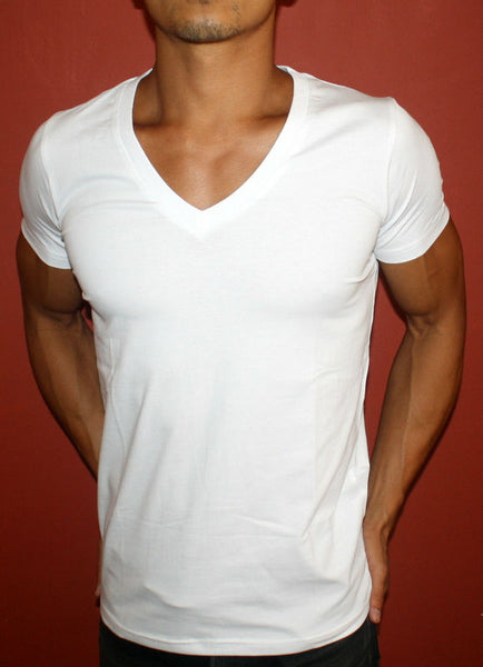 Plain White Fitted Deep V-Neck Men's T-Shirt