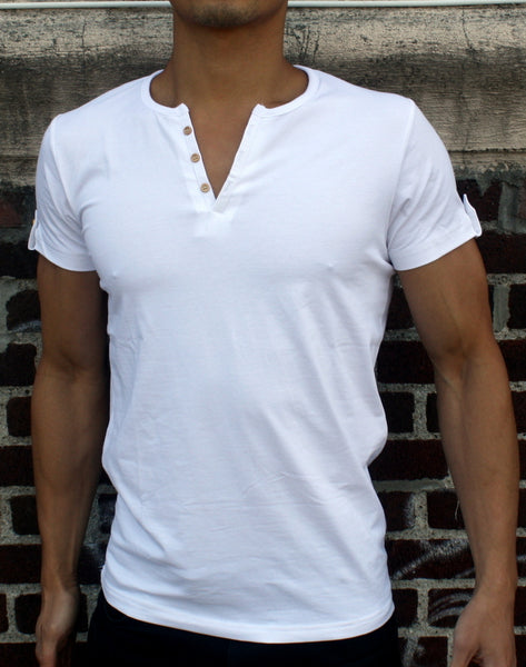 Plain Men's White Button-down V-Neck T-Shirt