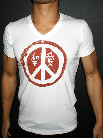White Regular V-Neck T-Shirt - Love & Peace for Men