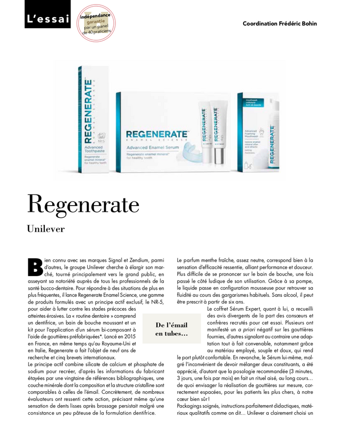 REGENERATE™ ENAMEL SCIENCE À L'ESSAI