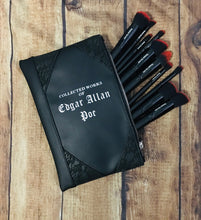 "Load image into Gallery viewer, ""Collected Works of Edgar Allan Poe"" Cosmetic Bag"
