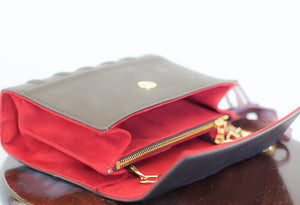"""Spell Book"" Fleur de lis Studded Clutch & Crossbody - Red/Silver"