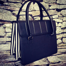 Load image into Gallery viewer, Black & White Striped Satchel