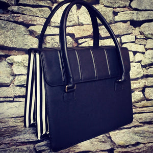 Black & White Striped Satchel
