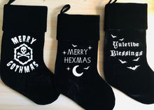 "Load image into Gallery viewer, ""Merry Hexmas"" Velvet Stocking - Personalize with Name"