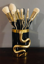 Load image into Gallery viewer, Vegan 10-Piece Brush Set - Golden Snakes - with Brush Holder