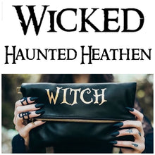 "Load image into Gallery viewer, ""Wicked"", ""Haunted"" or ""Heathen"" Fold Over Crossbody Bag"
