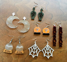 Load image into Gallery viewer, Spider Web Moon Earrings