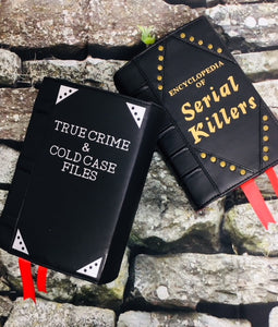 "Studded ""Serial Killers"" Book Clutch & Crossbody-Wine/Brass"