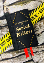 "Load image into Gallery viewer, Studded ""Serial Killers"" Book Clutch & Crossbody-Wine/Brass"