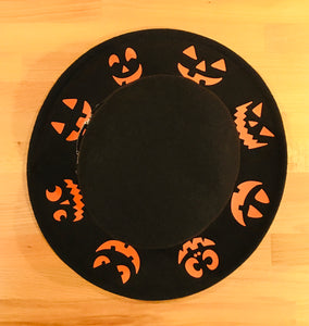 Flat Top Felt Hat - Jack-O-Lanterns