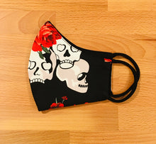 Load image into Gallery viewer, Face Mask - Skulls & Roses