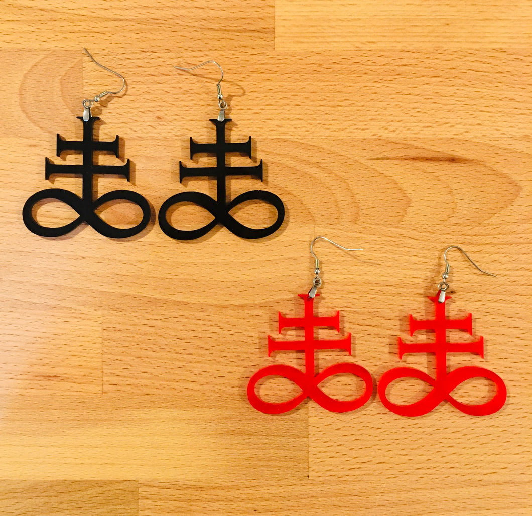 Sulfur Cross Earrings