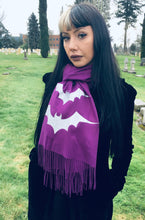 Load image into Gallery viewer, Vegan Cashmere Scarf - Dark Purple Bats