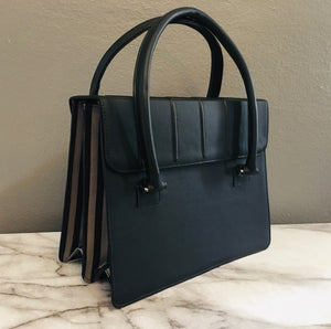 Black & Charcoal Striped Satchel