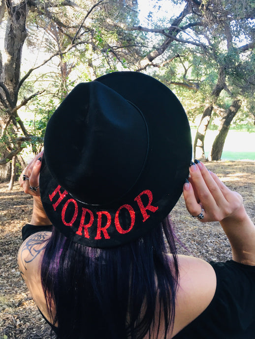 Vegan Felt Hat - Red Glitter Horror