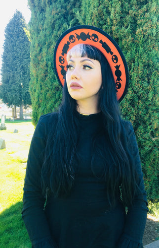 Vegan Felt Hat - Orange/Black - Skull Candy
