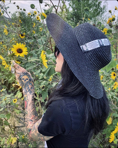 Black Sun Hat - Medium Brim