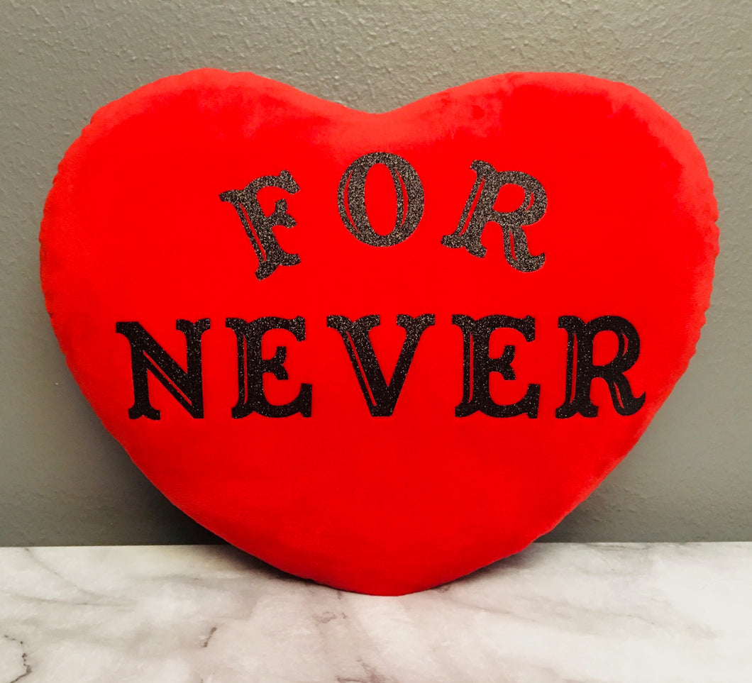 Velvet Conversation Heart Pillow - For Never