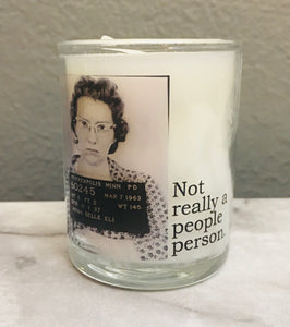 "Vintage Mugshot Candle - ""Not really a people person"""