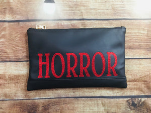 "Red Glitter ""Horror"" Cosmetic Bag"