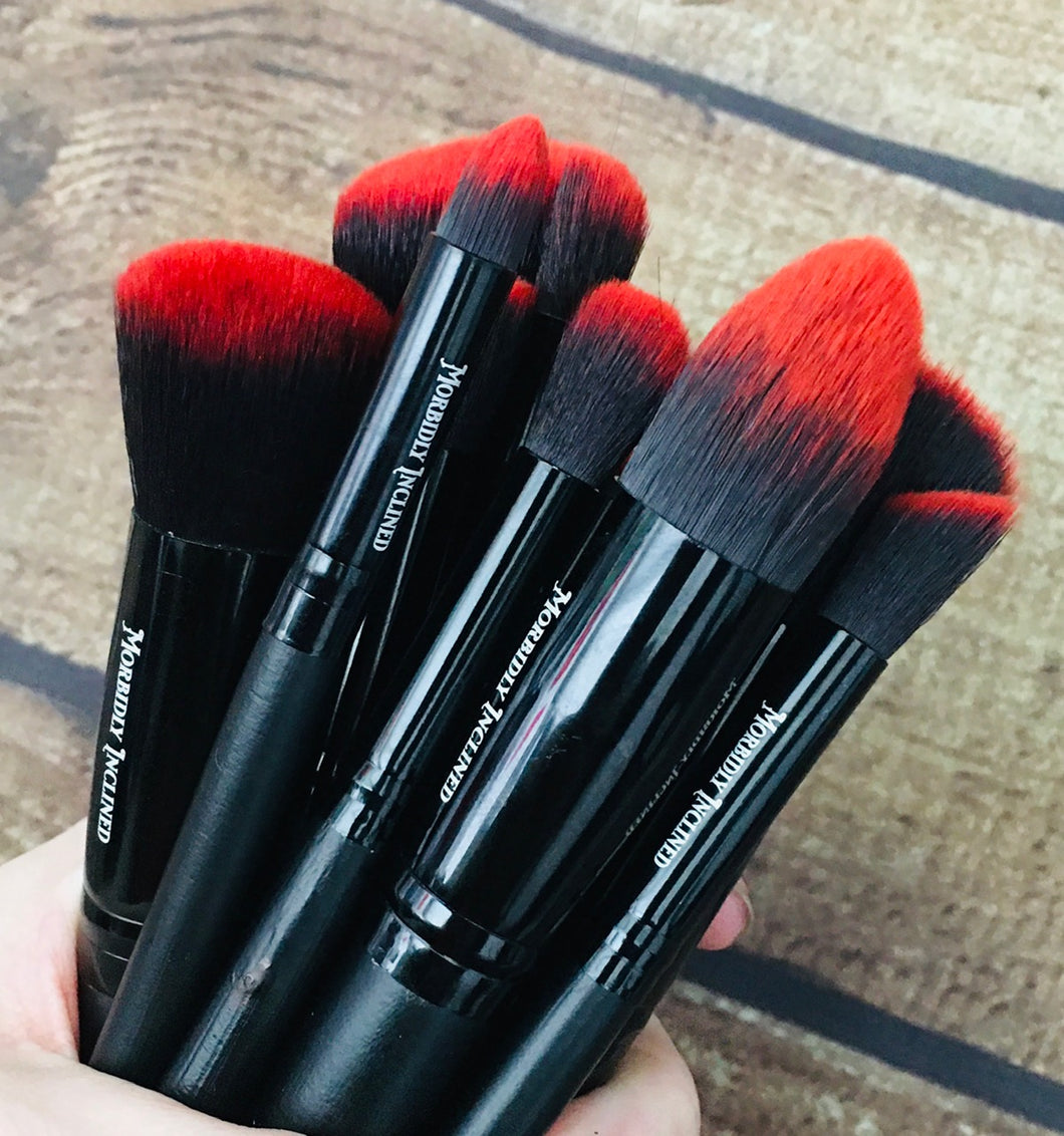 Vegan 10-Piece Brush Set - Red/Black