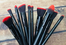 Load image into Gallery viewer, Vegan 10-Piece Brush Set - Red/Black