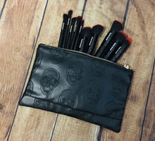 Load image into Gallery viewer, Black Skull Cosmetic Bag