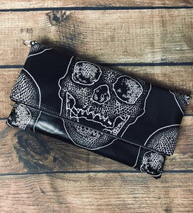 Black Skull Fold Over Crossbody Bag