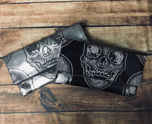 Load image into Gallery viewer, Black Skull Fold Over Crossbody Bag
