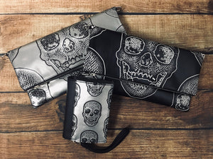 Silver Skull Fold Over Crossbody Bag