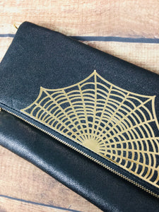 Spider Web Fold Over Crossbody Bag
