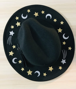 Vegan Felt Hat - Moons & Stars