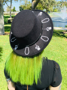 Flat Top Felt Hat - Coffin Roses