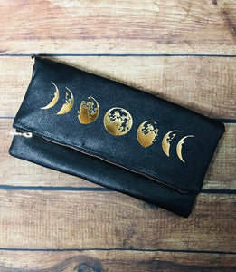 Moon Phase Fold Over Crossbody Bag
