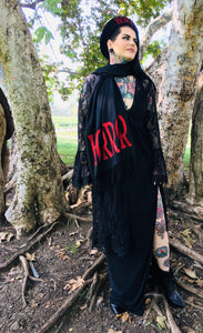 Vegan Cashmere Scarf - Red Glitter Horror