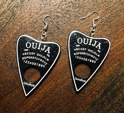 Planchette Earrings - Black Glitter