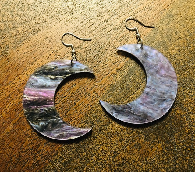 Marbled Moon Drop Earrings