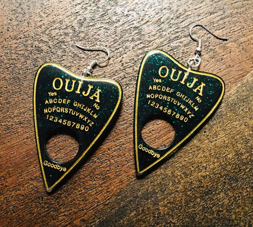 Planchette Earrings - Green/Gold