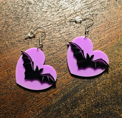 Lavender Bats Drop Earrings