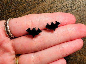 Mini Black Bat Stud Earrings